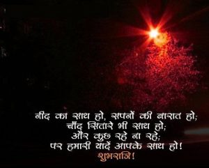 Good Night Photo Picture With Hindi Shayari